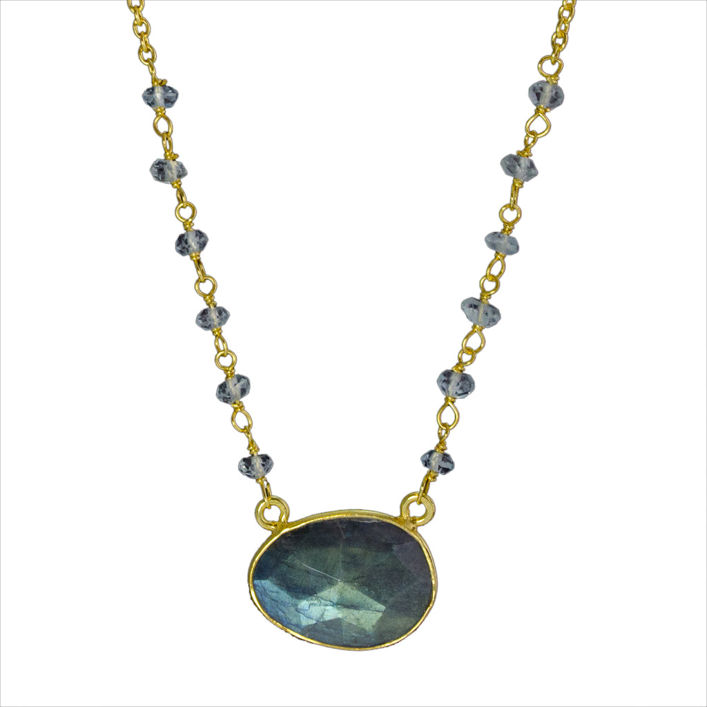 Vermeil Gold Necklace Labradorite Elegant Beaded Chain Stone