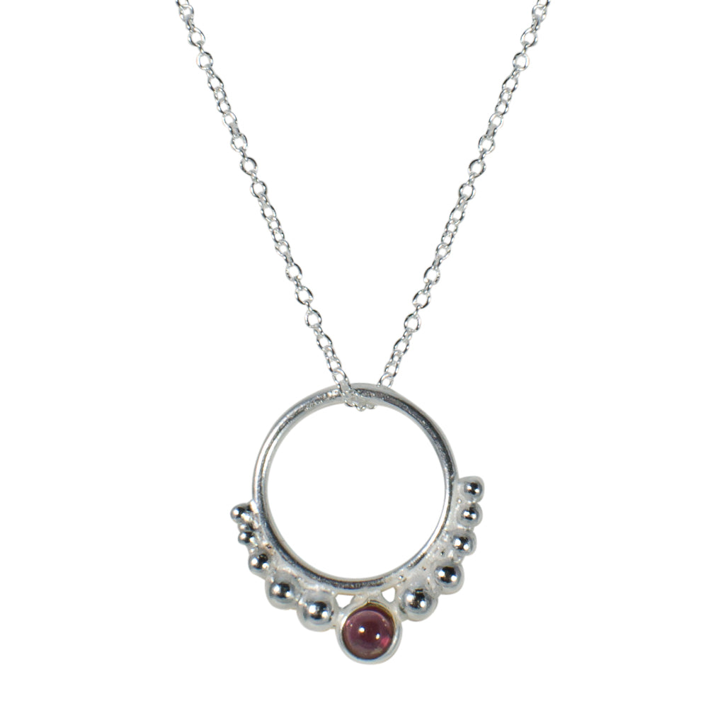 Hoop Necklace Circle Pendant Chain Sterling Silver Garnet Red