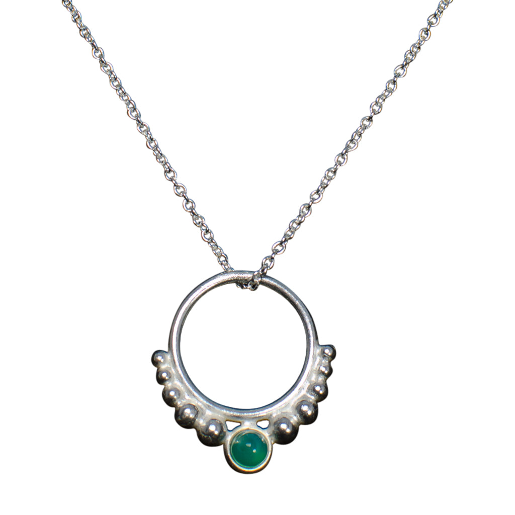 Hoop Necklace Circle Pendant Chain Sterling Silver Light Green Onyx
