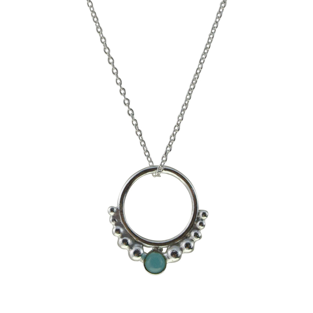 Hoop Necklace Circle Pendant Chain Sterling Silver Sky Chalcedony