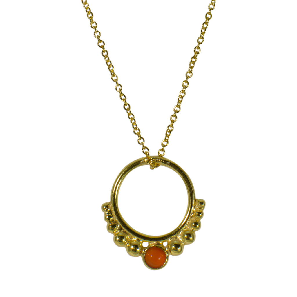 Hoop Necklace Circle Stone Pendant Chain Vermeil Gold Carnelian Orange