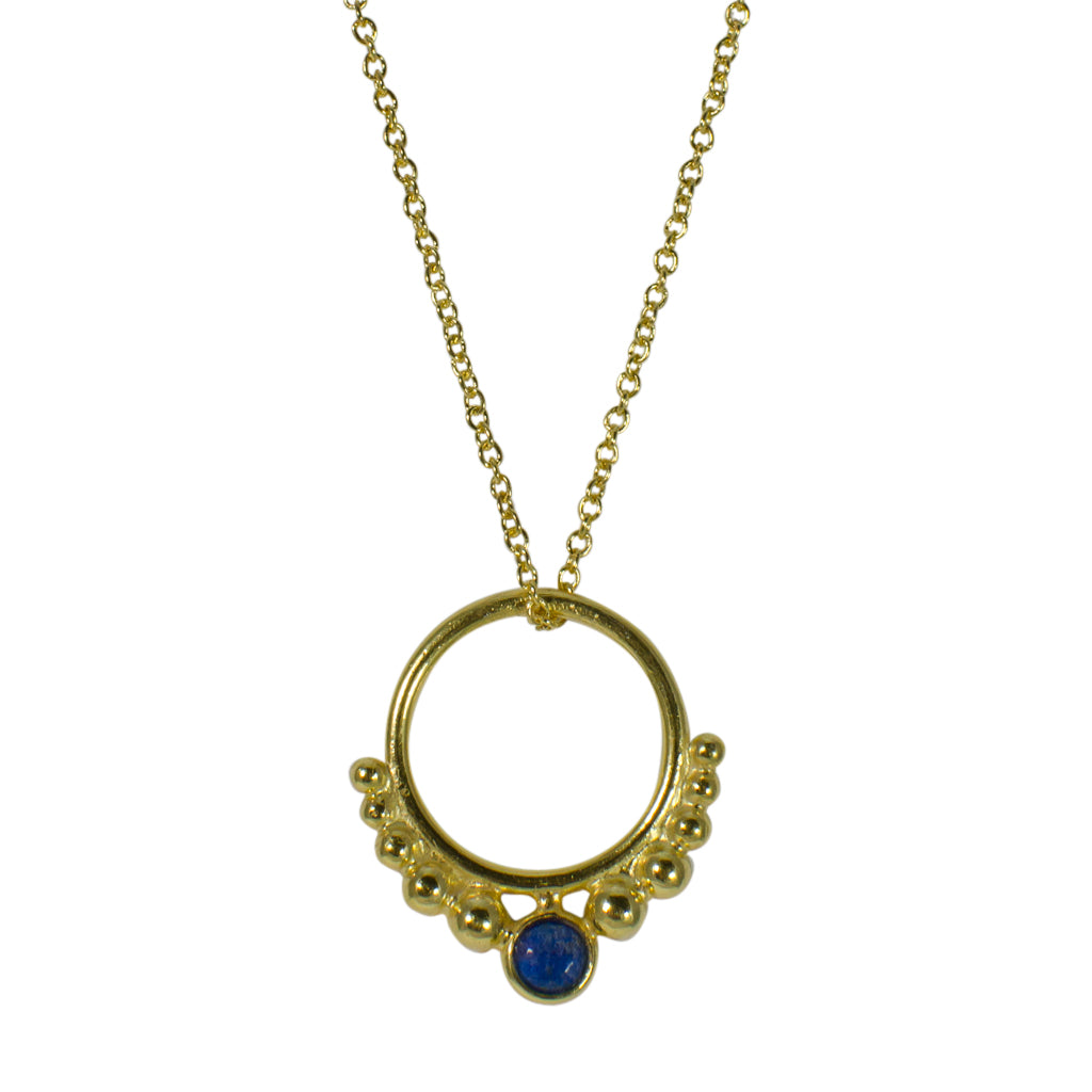 Hoop Necklace Circle Stone Pendant Chain Vermeil Gold Black Lapis Lazuli