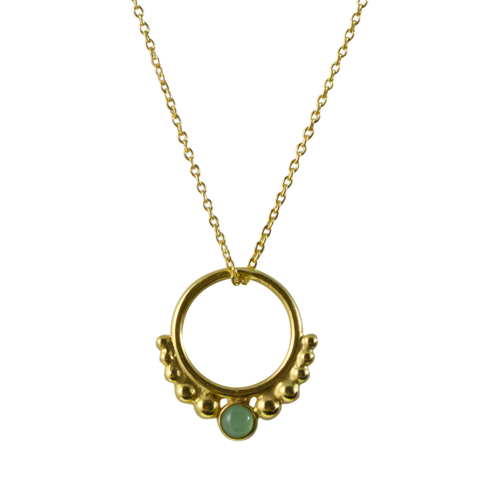 Hoop Necklace Circle Stone Pendant Chain Vermeil Gold Light Green Onyx