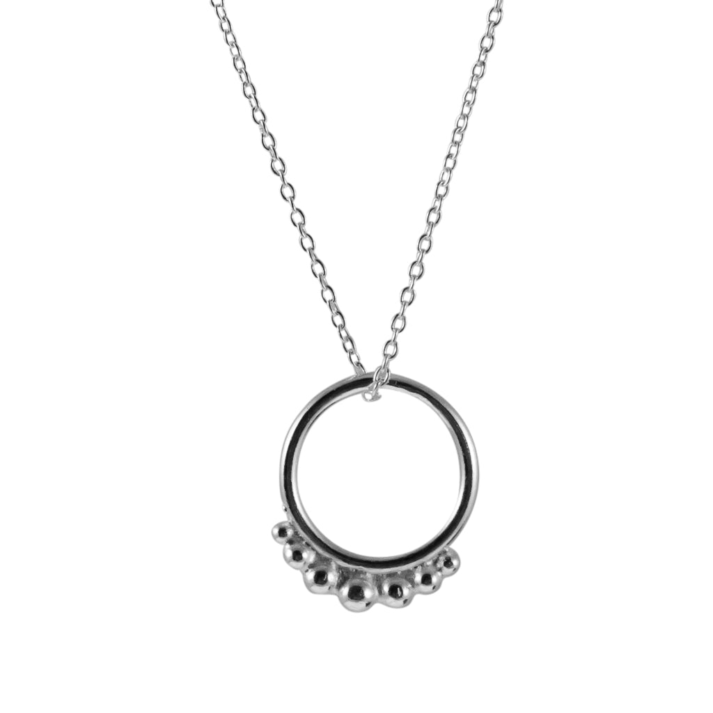 Hoop Necklace Circle Pendant Chain Sterling Silver
