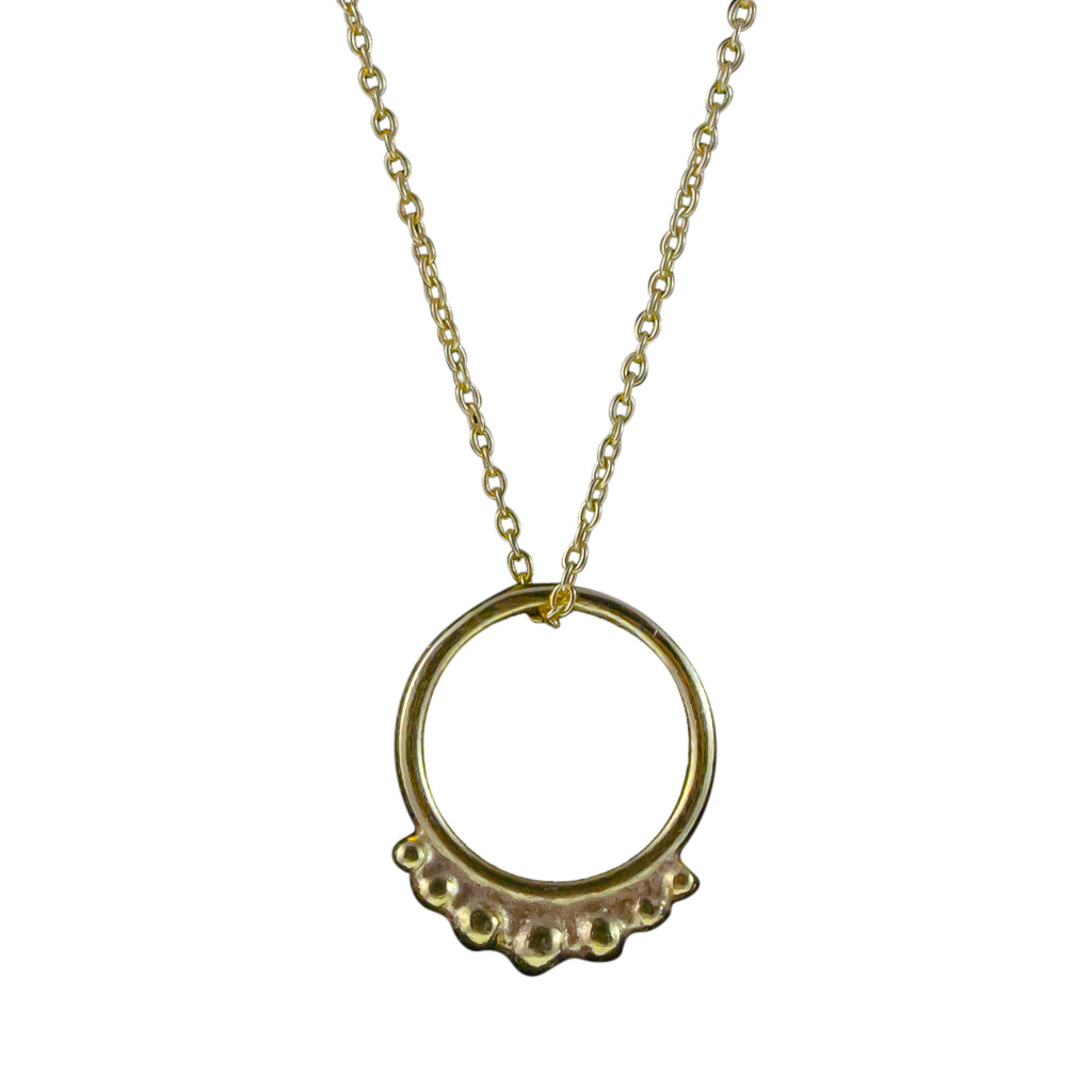 Hoop Necklace Circle Pendant Chain Vermeil Gold