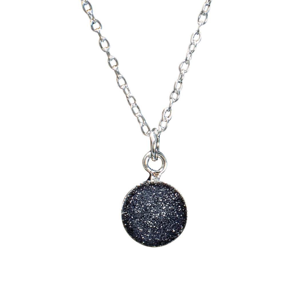 dainty black druzy stone silver chain necklace Simple