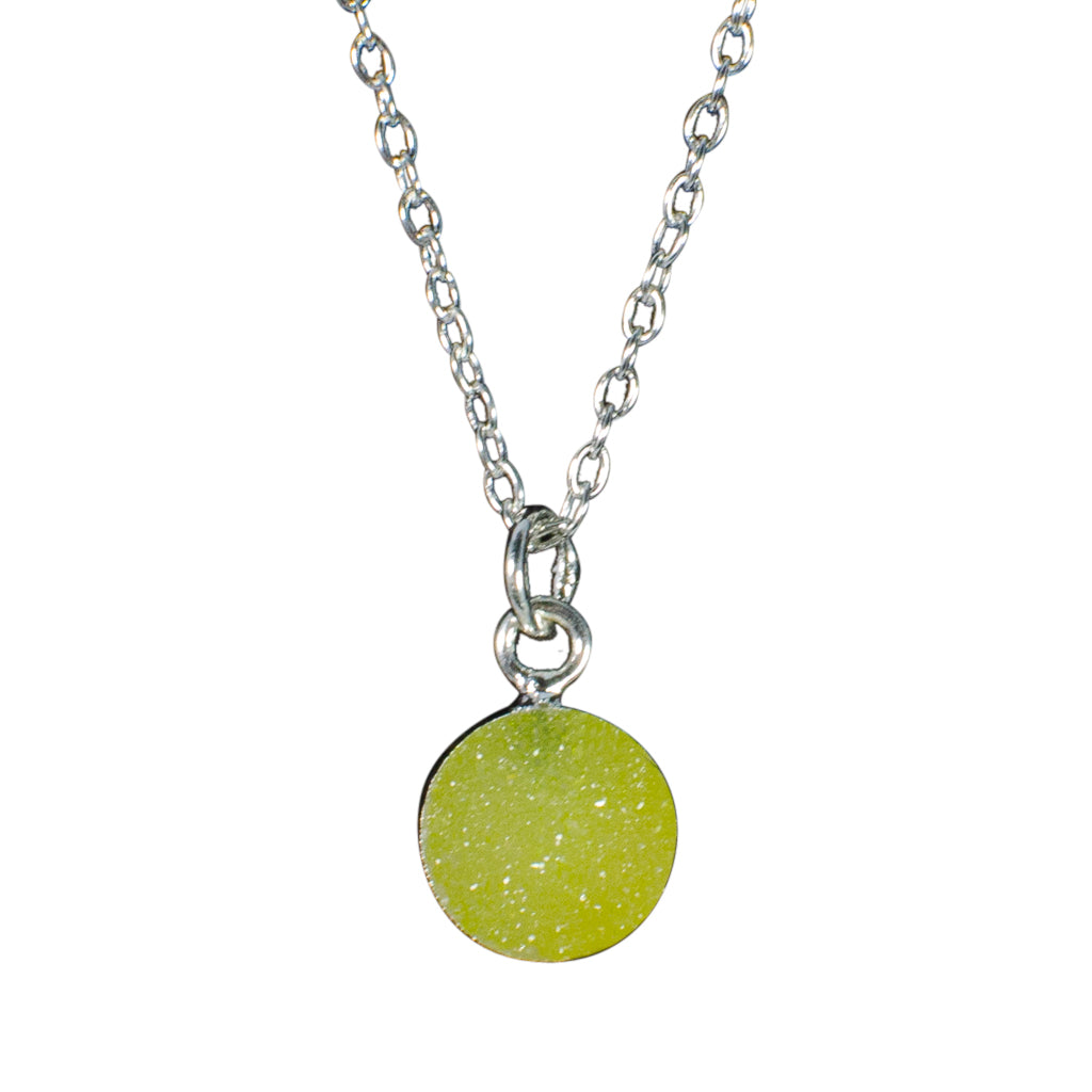 dainty lime green druzy stone silver chain necklace