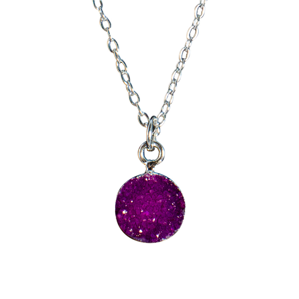 dainty purple pink druzy stone silver chain necklace circle