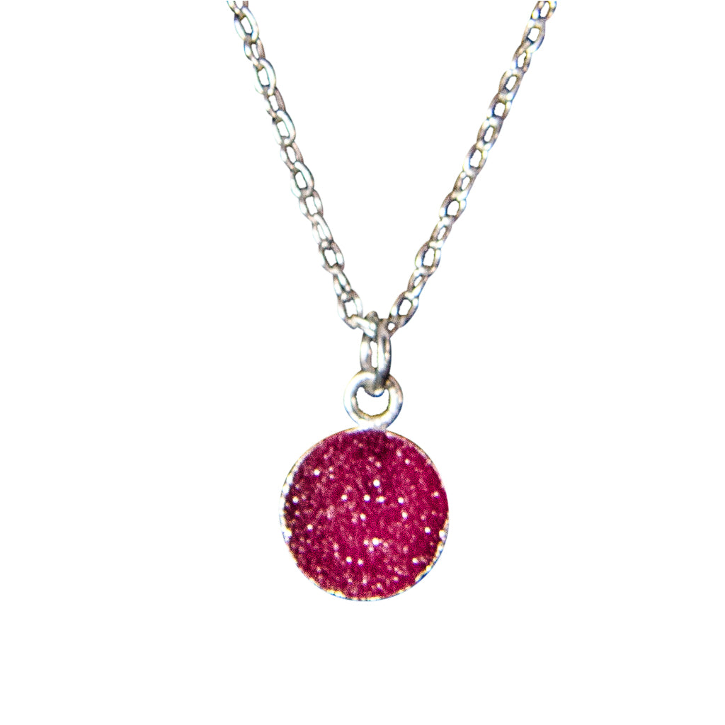 dainty rose pink druzy stone silver chain necklace circle small