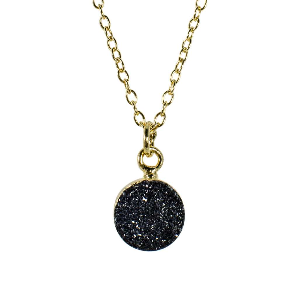dainty black druzy stone vermeil chain necklace gold