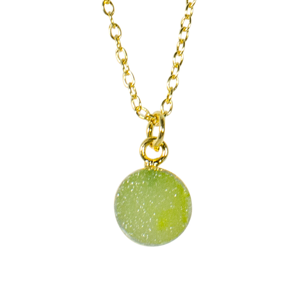 dainty lime green druzy stone vermeil chain necklace