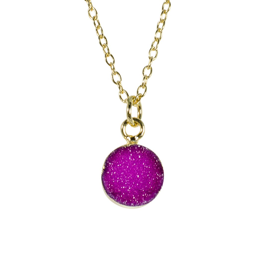 dainty purple pink druzy stone vermeil chain necklace