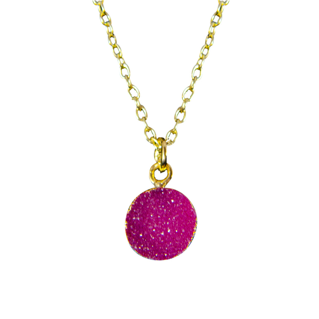 dainty rose pink druzy stone vermeil chain necklace