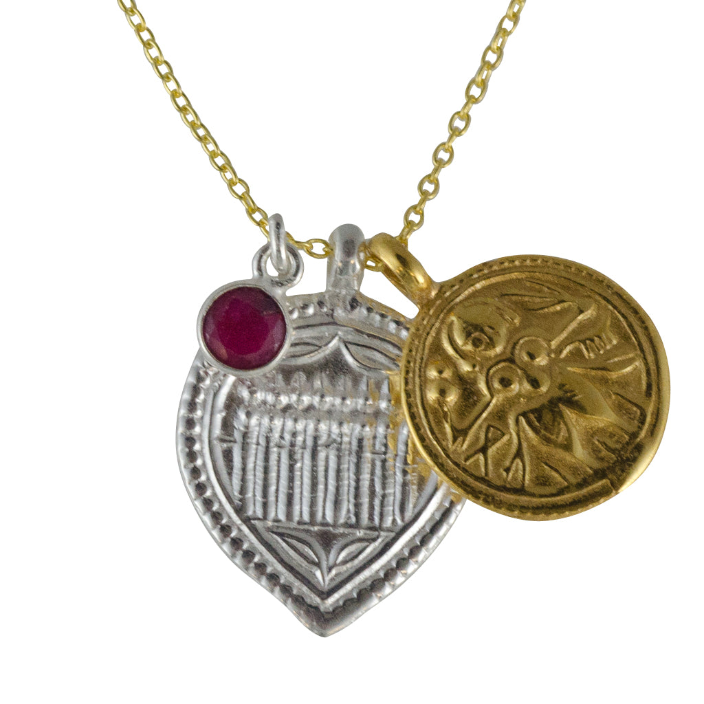 Silver Stone Vermeil Gold Necklace Garnet Red Trendy Symbolic Boho