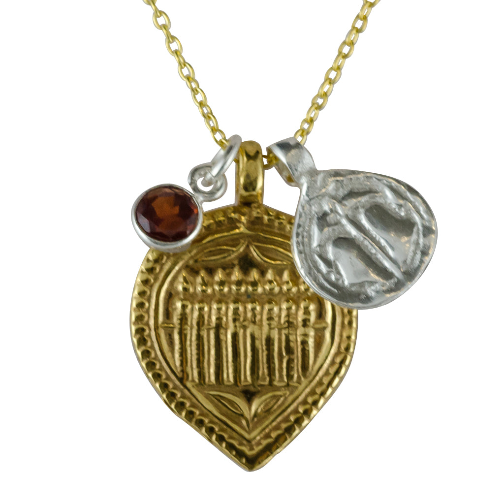 Nourish and Protect amulet necklace: gold plate Seven Sisters, silver plate Sacred Feet and small gemstone charm on a 16 inch chain. Choose silver or vermeil chain coin symbol meaning