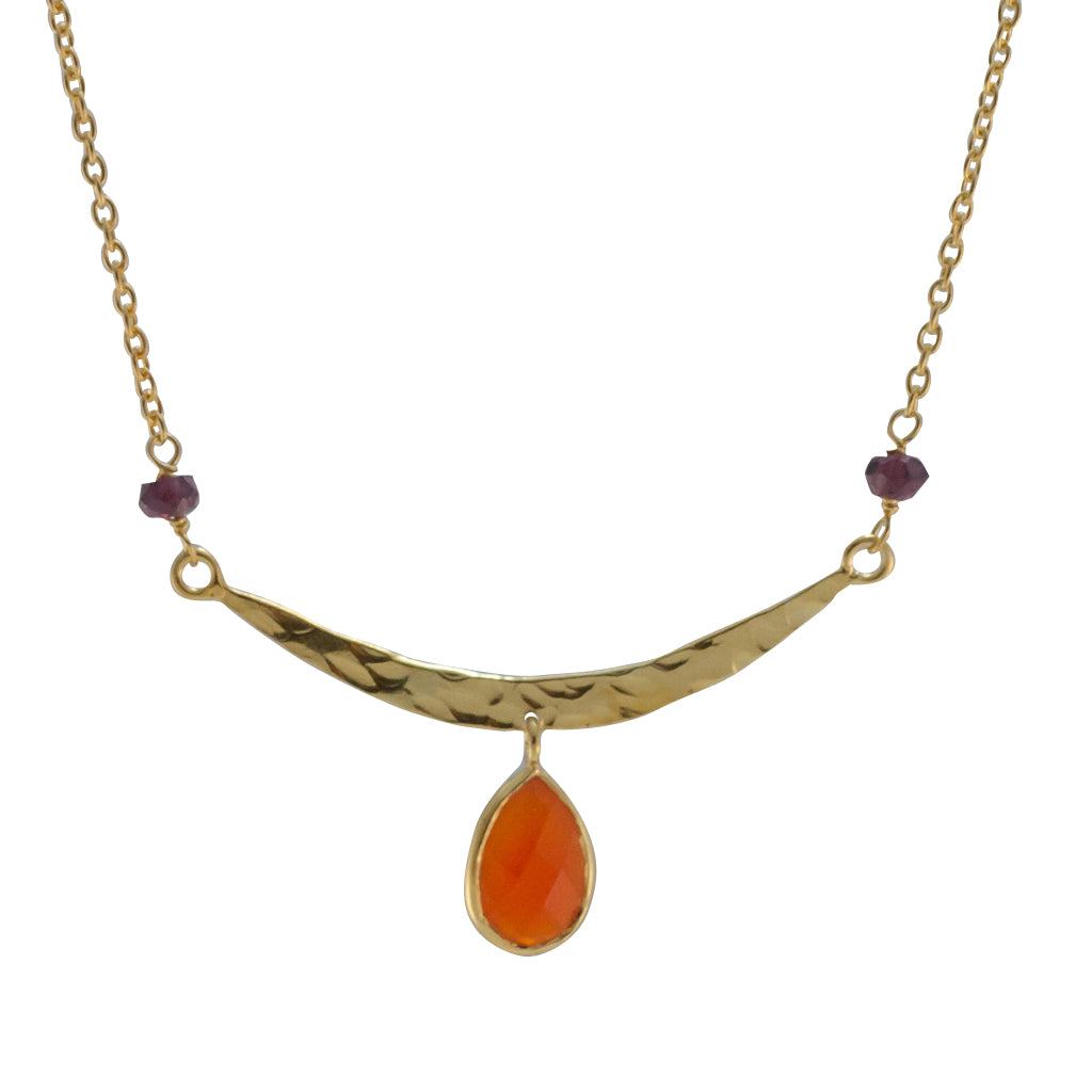 Bar Necklace Hammered Carnelian Orange Drop Belize Vermeil Gold Pretty Stylish Trendy Boho