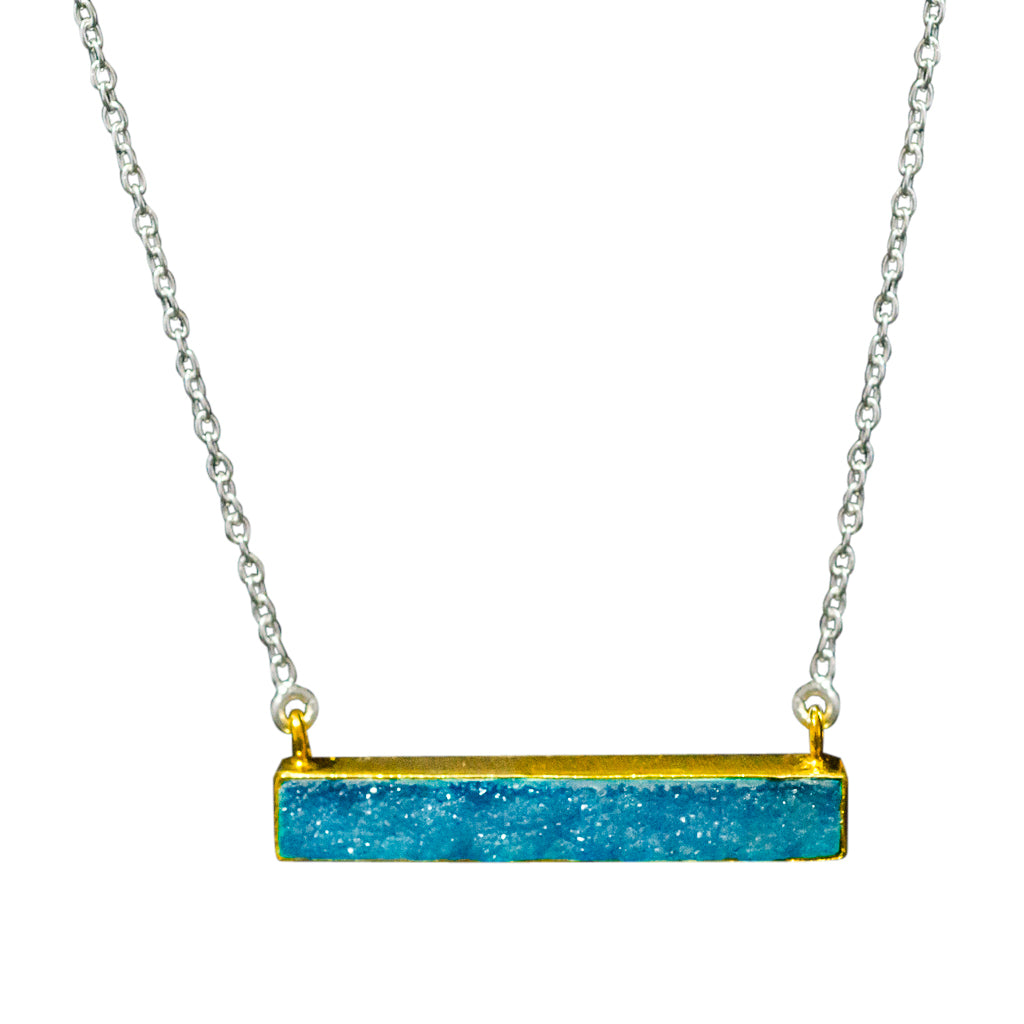 Druze Blue Vermeil Chain Cute Sparkle Colorful Trendy Necklace Bar