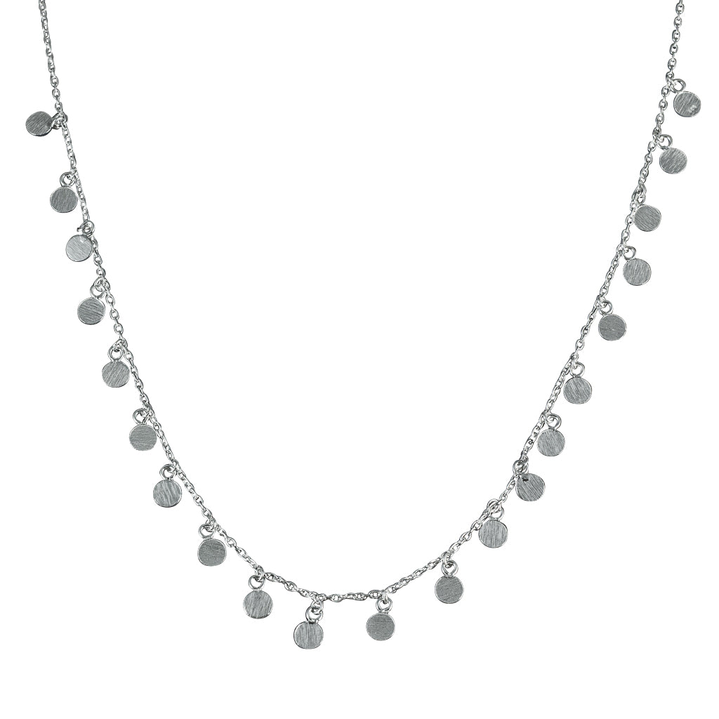 Cute Chain Simple Silver Dots Brushed Delicate Boho Coin Necklace