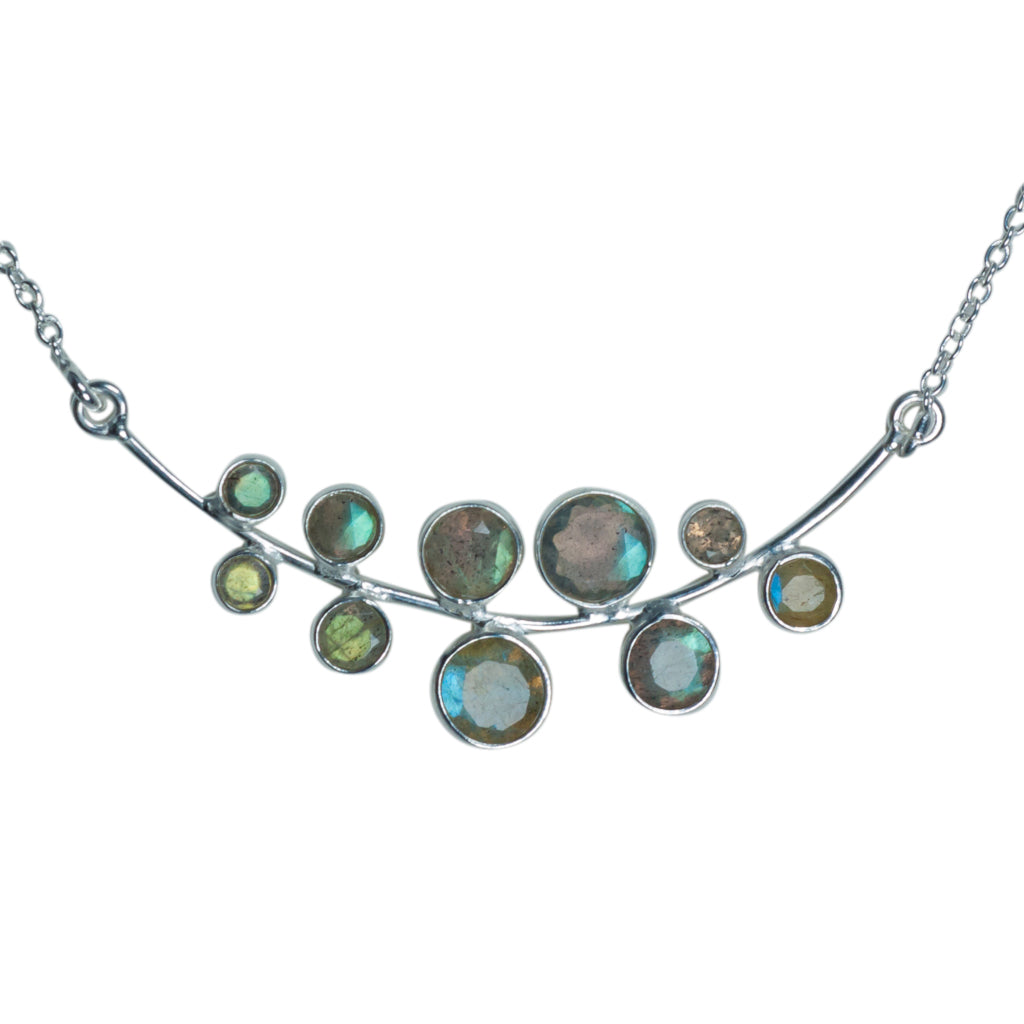 Bubbles necklace silver affordable stone boho style labradorite cute elegant