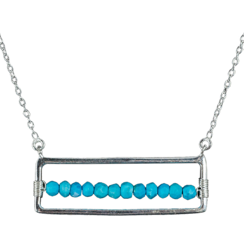 turquoise beaed necklace silver stone framed