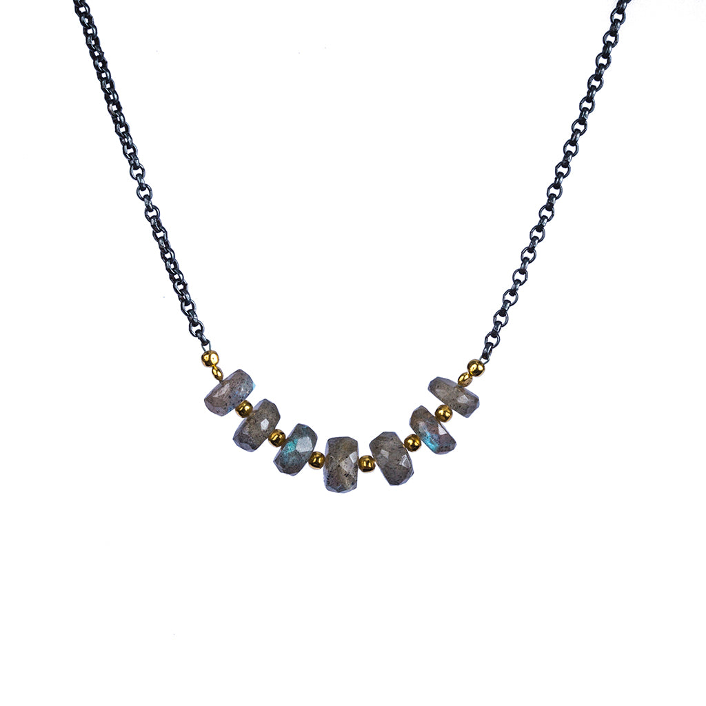 Essential dark rhodium chain vermeil necklace labradorite stone affordable