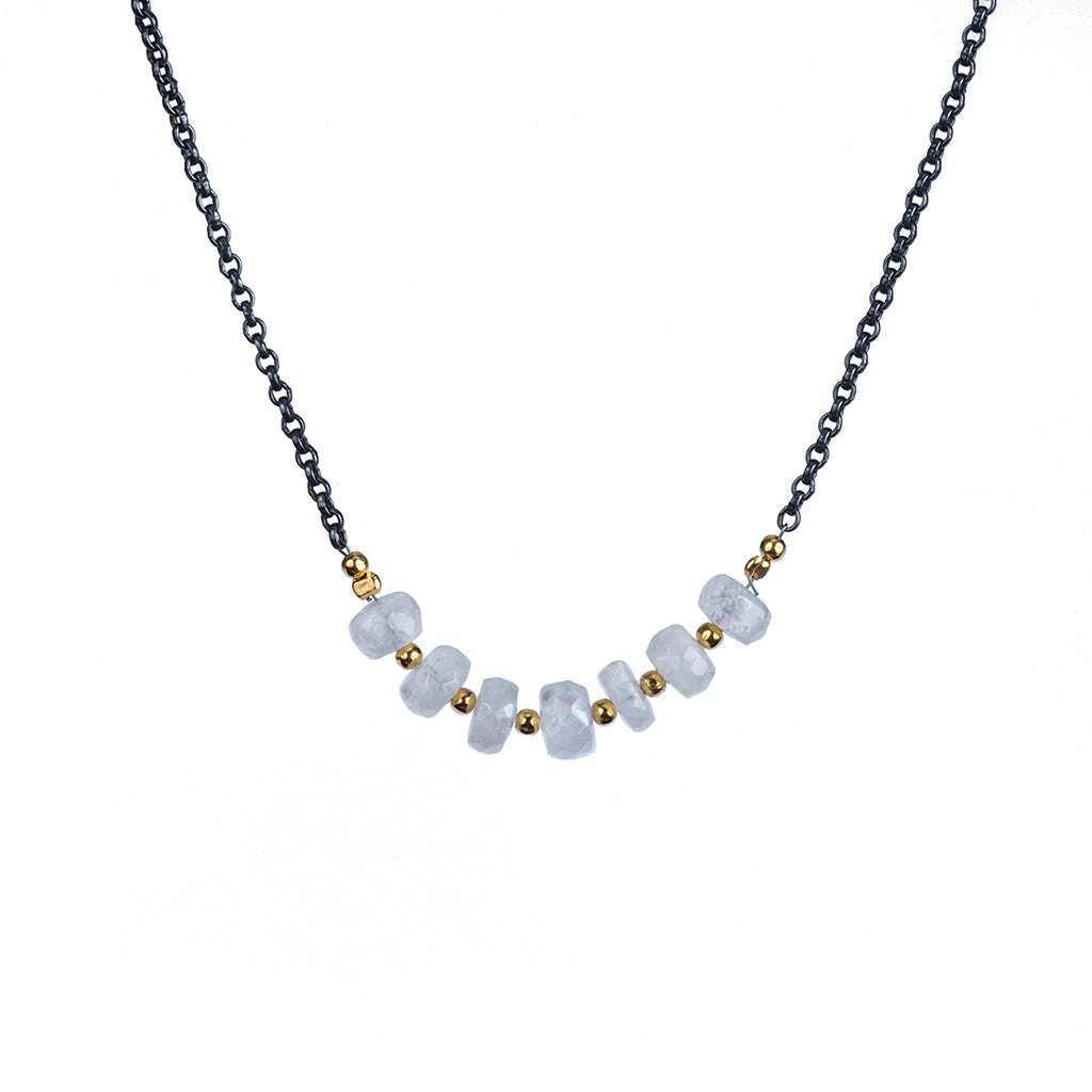 Rainbow moonstone essential affordable necklace dark rhodium vermeil beads