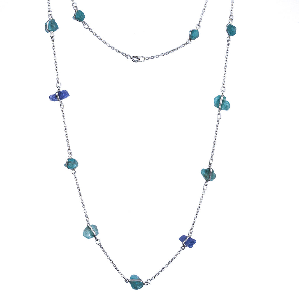 Silver blue apatite raw stone necklace affordable pretty
