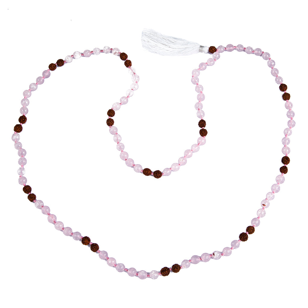 Yoga Lifestyle Jewelry Beads Mala Yogi Affordable Pink White  rose quartz