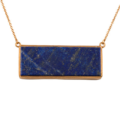 Lapis gold plate necklace rectangle denim vintage deco affordable