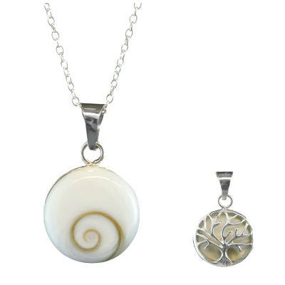 Shiva Shell Pendent with Tree of Life on Reverse
