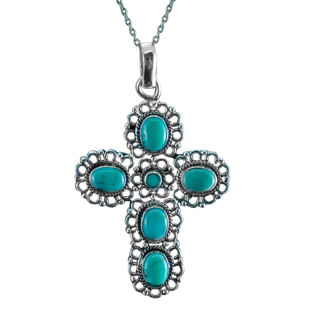 Turquoise Cross Pendant Silver Chain Gorgeous Bold Affordable