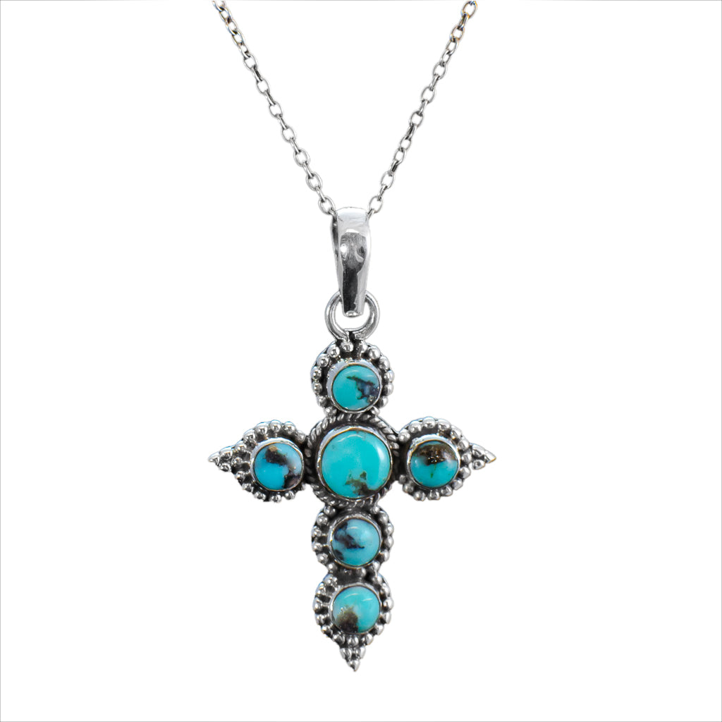 Turquoise Pendant Silver Chain Affordable Beautiful Bold Boho Style