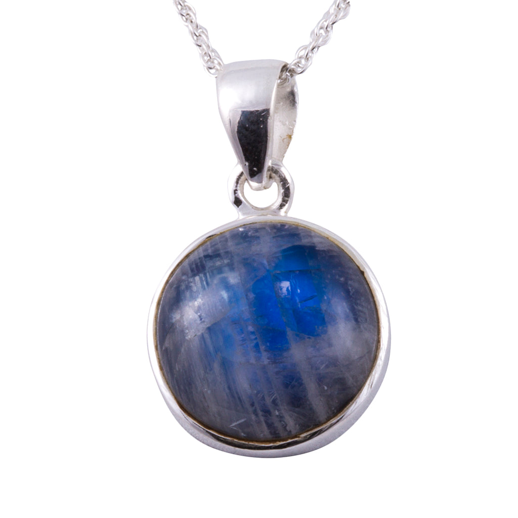 Electric rainbow  moonstone silver round pendant affordable chain