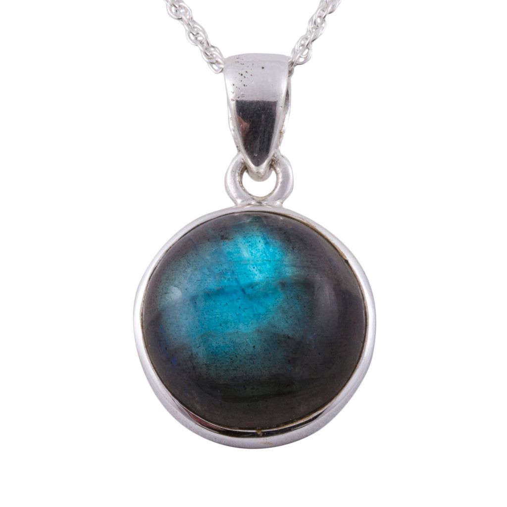 labradorite round affordable pendant sterling silver chain