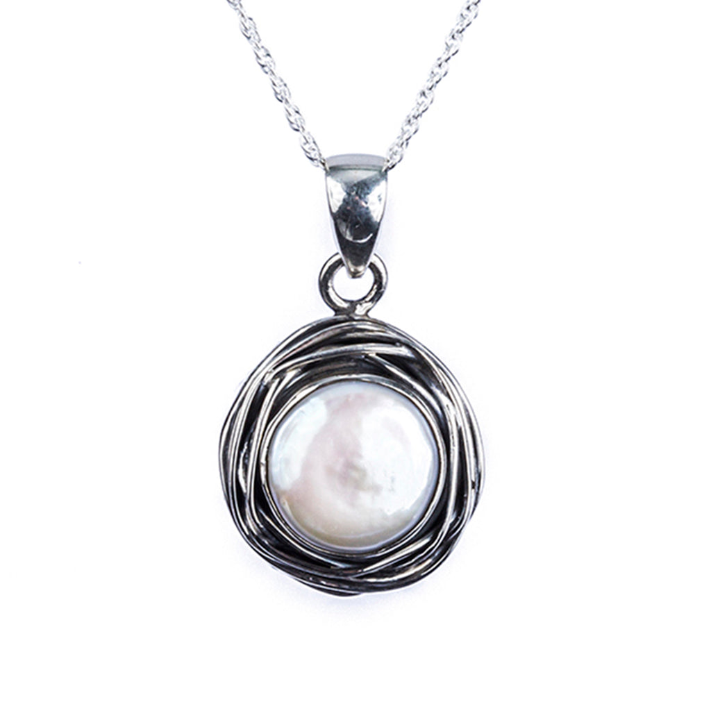 Silver Pearl pendant affordable necklace chain