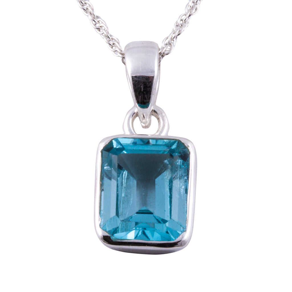 Silver blue topaz pendant necklace chain affordable