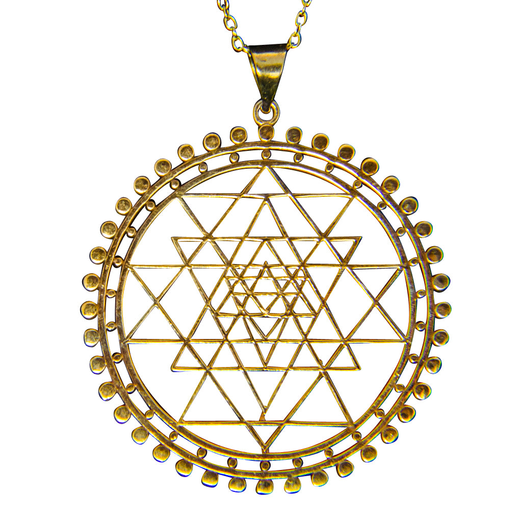 Cute Intricate Brass Pendant Sri Yantra Meditation Deity Benefits Protection Wealth Success Trendy