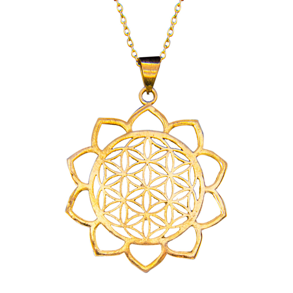 Lotus Brass Flower Pendant Affordable Spiritual Beautiful Jewelry