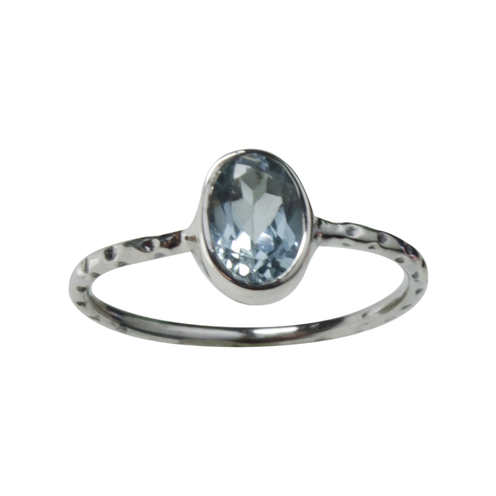 Blue Topaz Ring Silver Cute Dainty Affordable