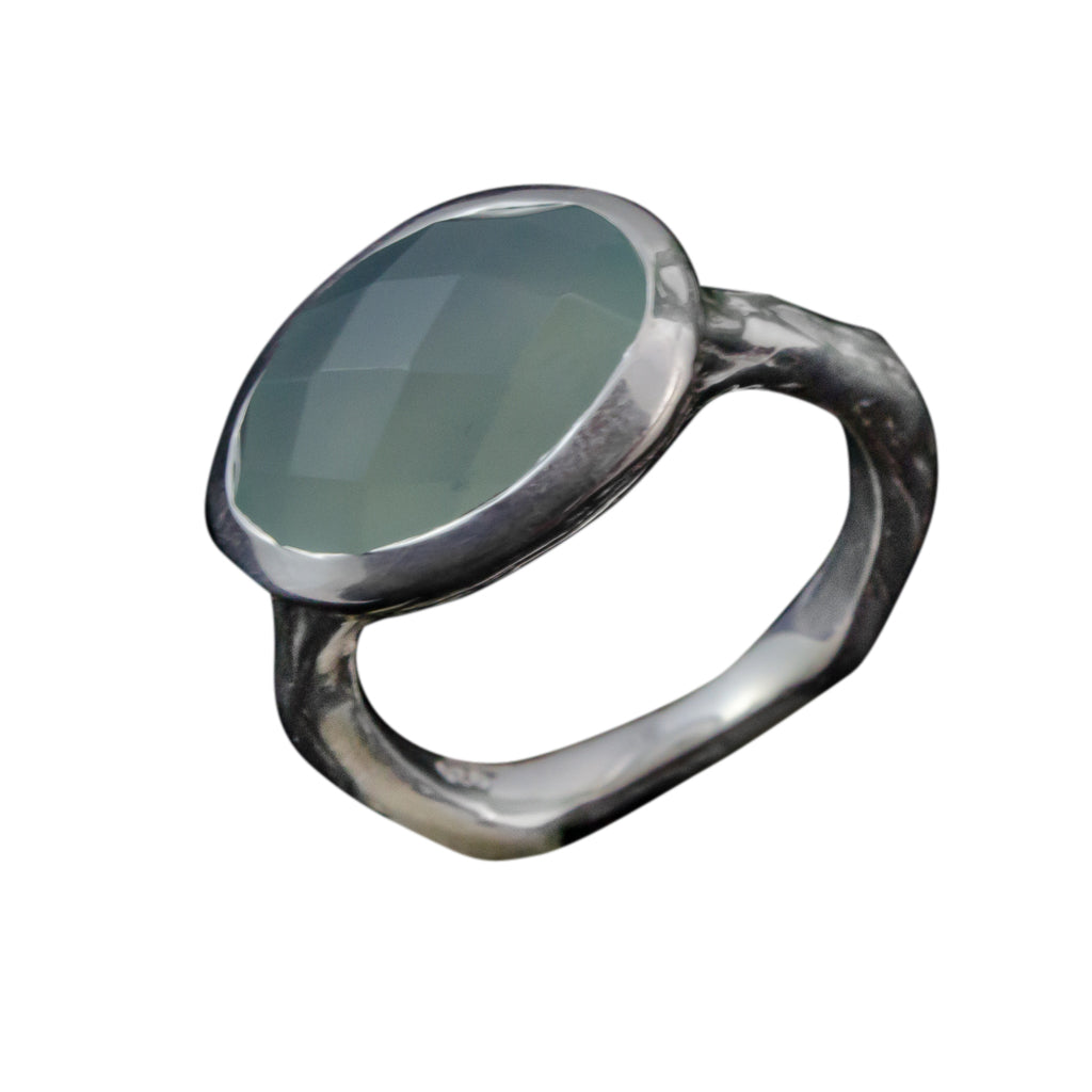 Ring Chalcedony Silver Boho Style Stone Affordable Cute