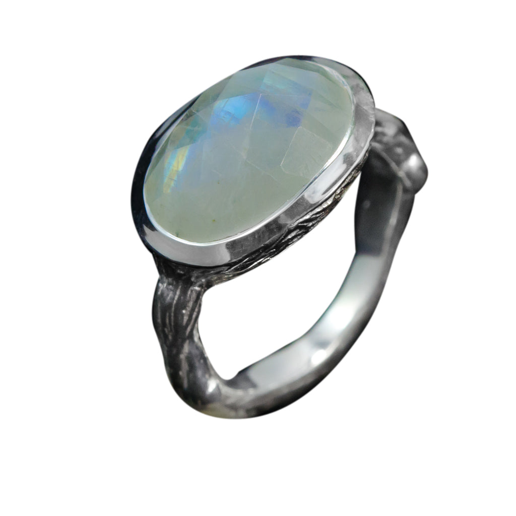 Rainbow Moonstone Stone Ring Silver Boho Style Affordable