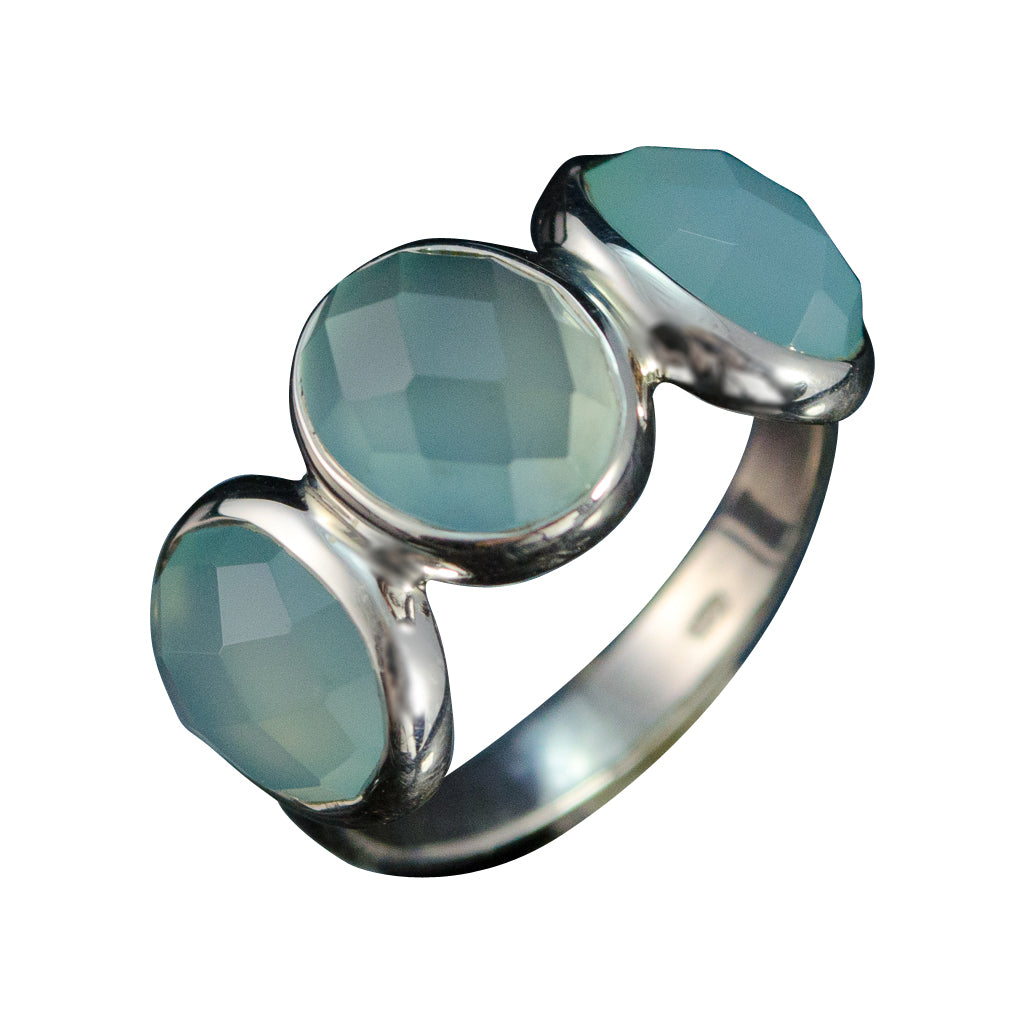 Ring Chalcedony Silver Three Stone Sisters Pretty Trendy Affordable