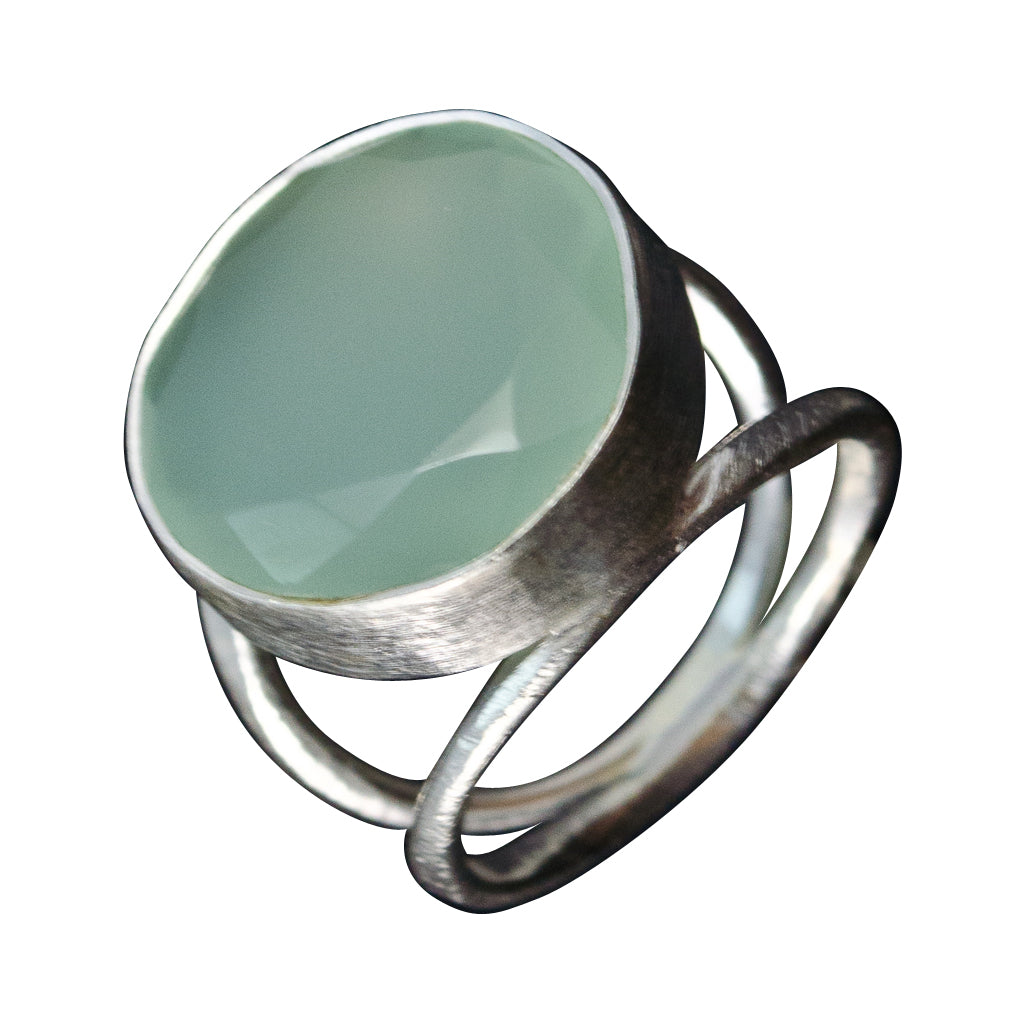 Chalcedony Stone Ring Large Brushed Pretty Trendy Boho Silver Round Affordable