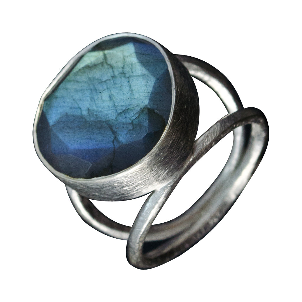 Labradorite Silver Stone Ring Large Round Brushed Stylish Boho Affordable
