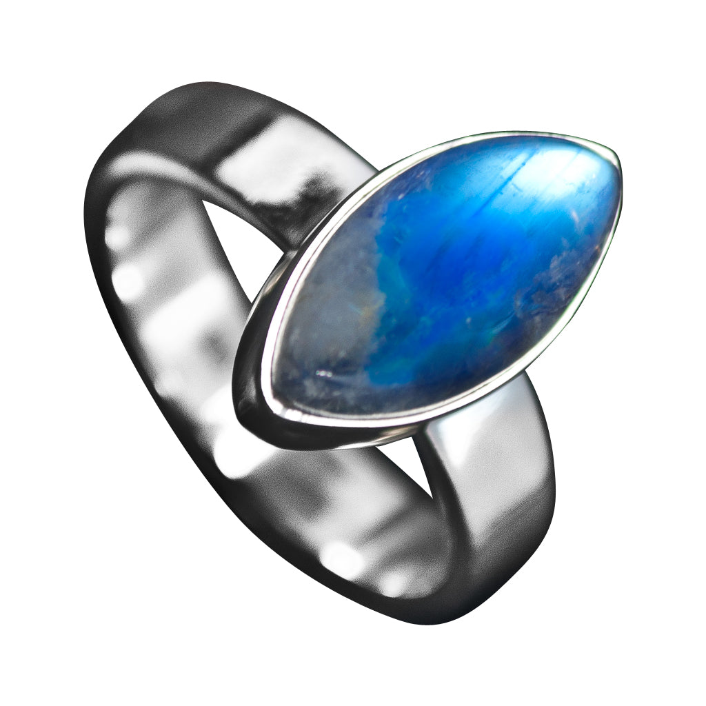 silver electric rainbow blue stone semi precious cute ring