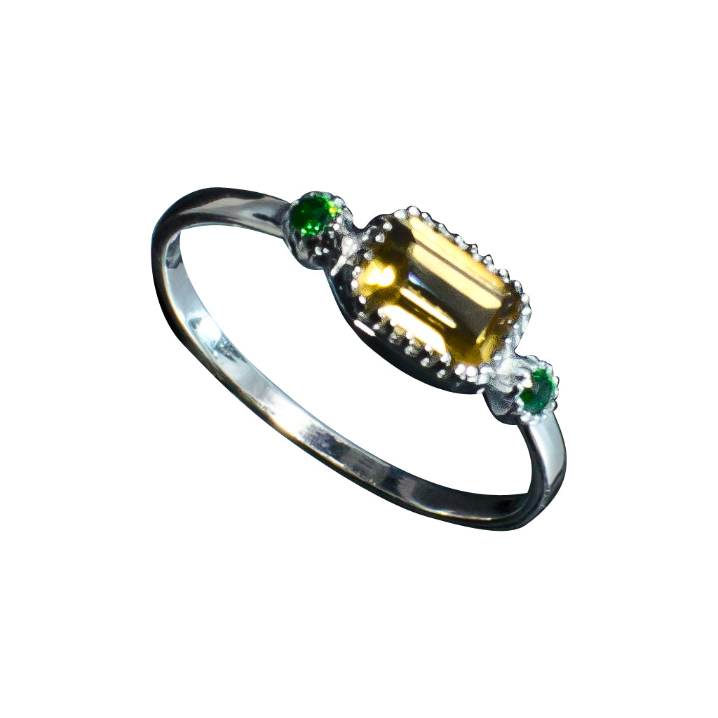 silver faceted citrine and green cz ring cubic zirconia emerald cut cute