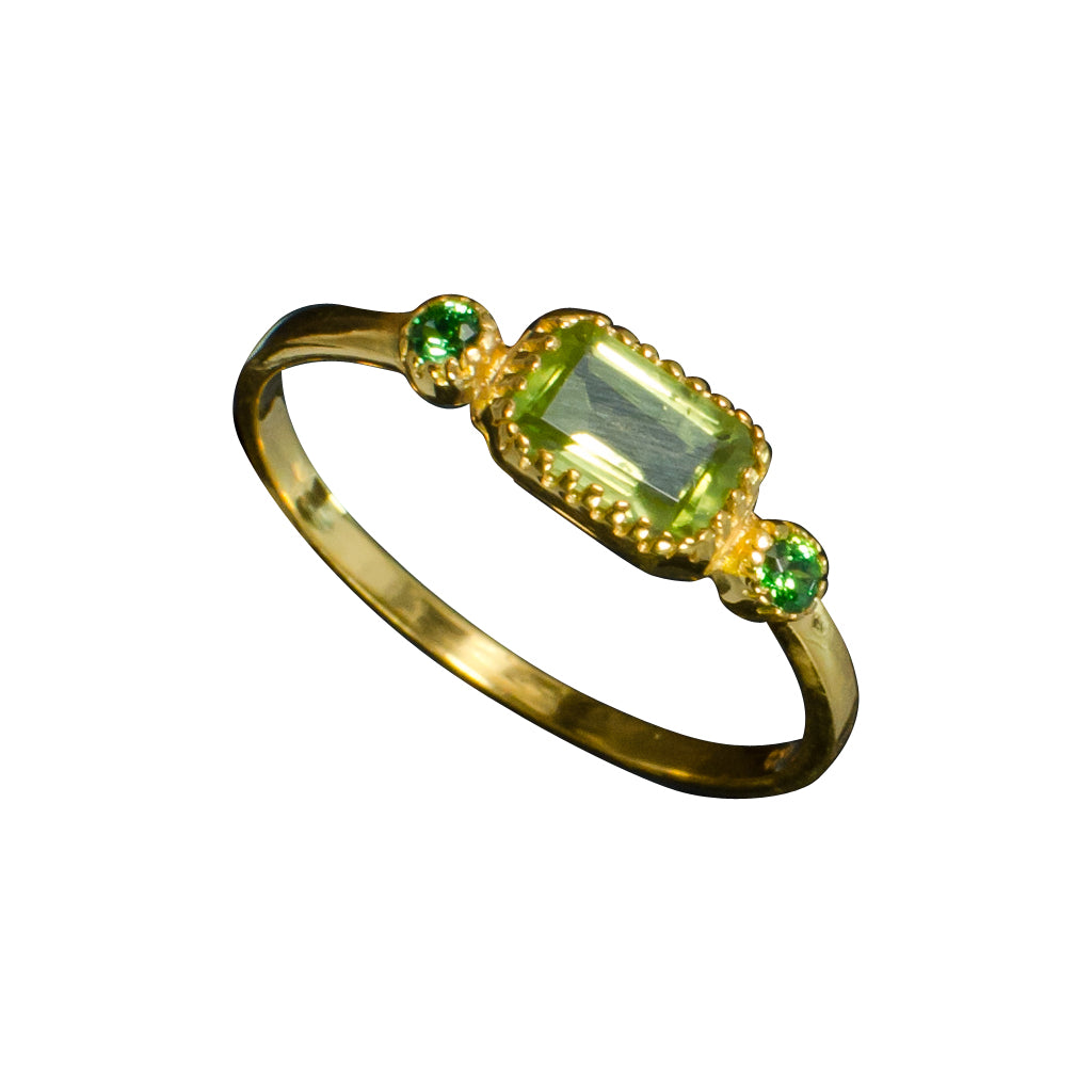 vermeil faceted peridot gold and green cz ring cubic zirconia emerald cut cute