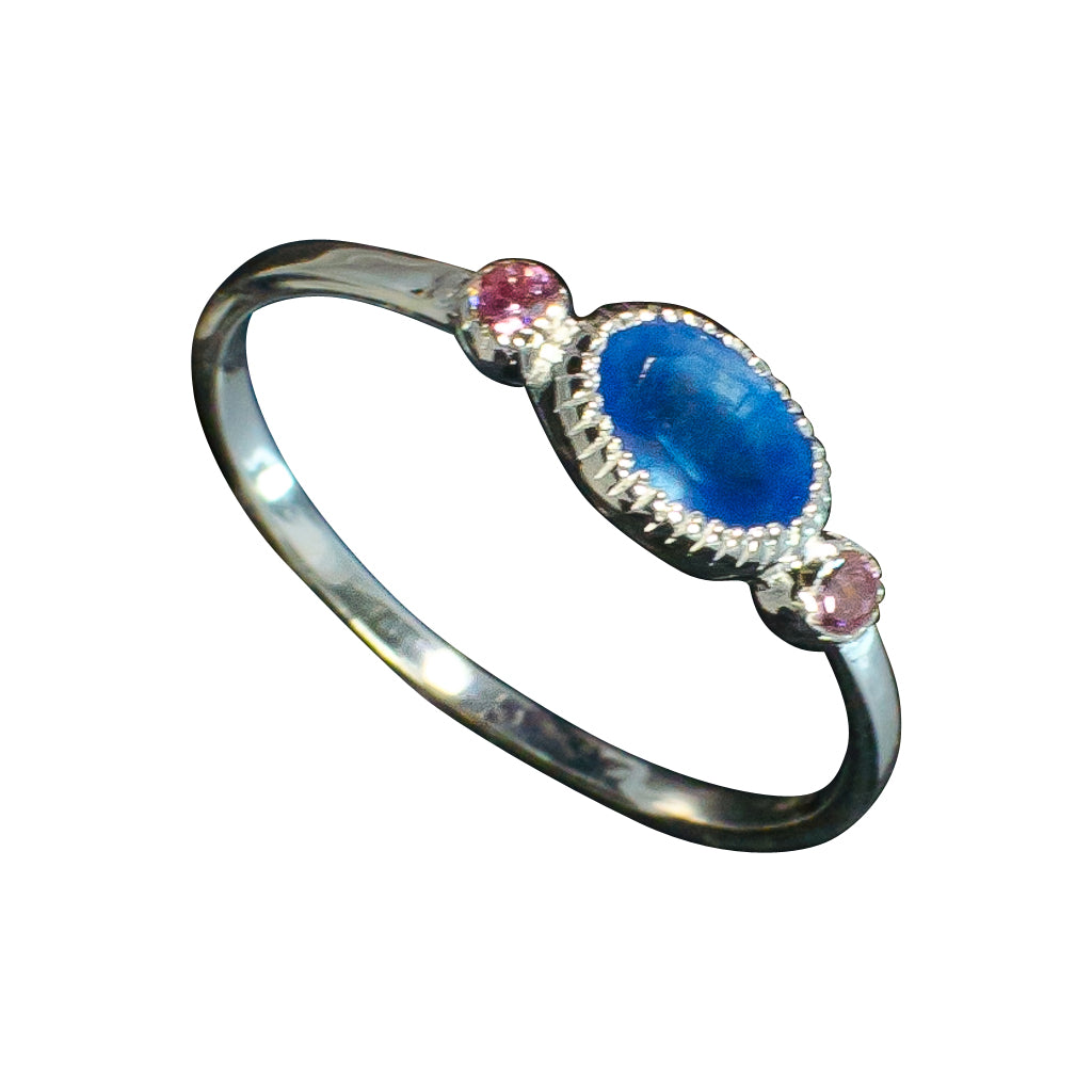 Blue Ring Quartz Silver Pink Cubic Zirconia Delicate Beautiful Trendy Stackable Affordabl