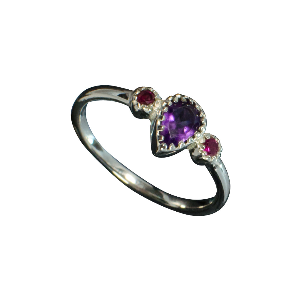 silver faceted amethyst and red ring cubic zirconia delicate dainty