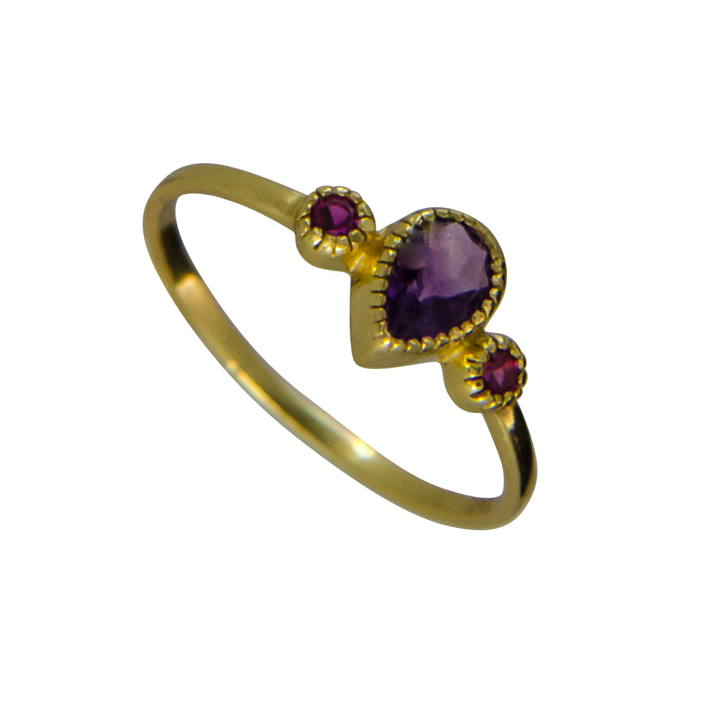vermeil faceted amethyst and red cz ring cubic zirconia delicate dainty cute drop